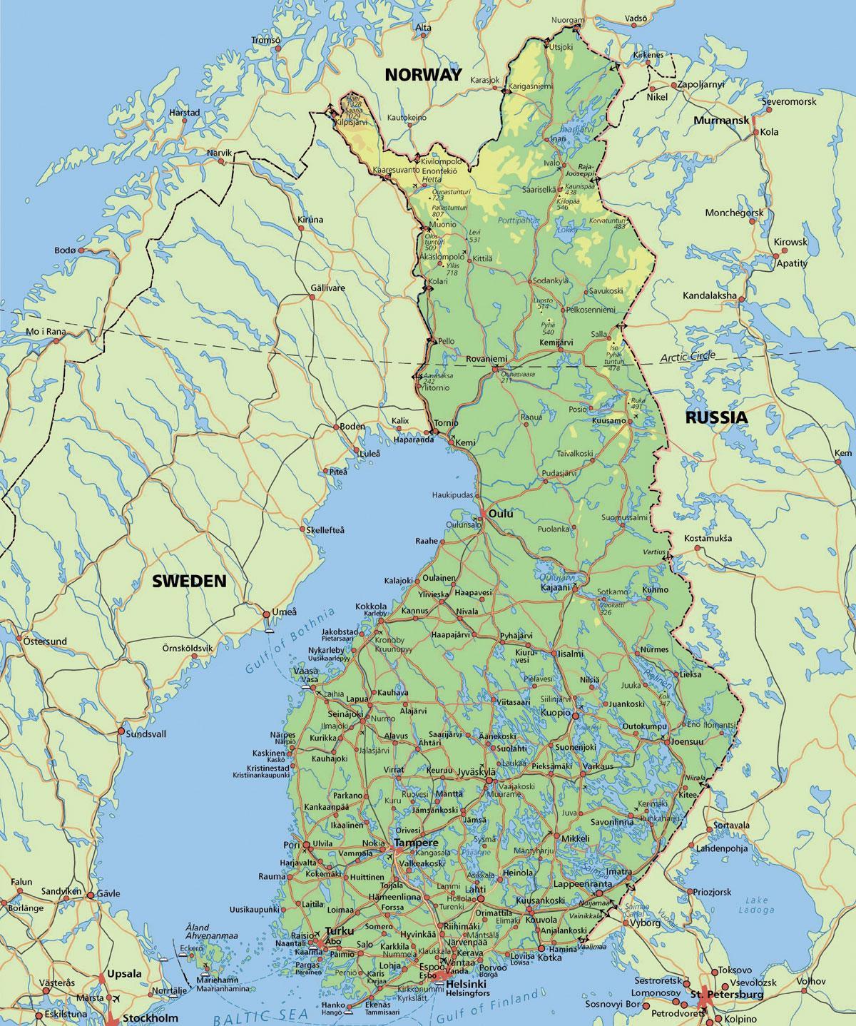 arctic circle finland map map of arctic circle finland northern