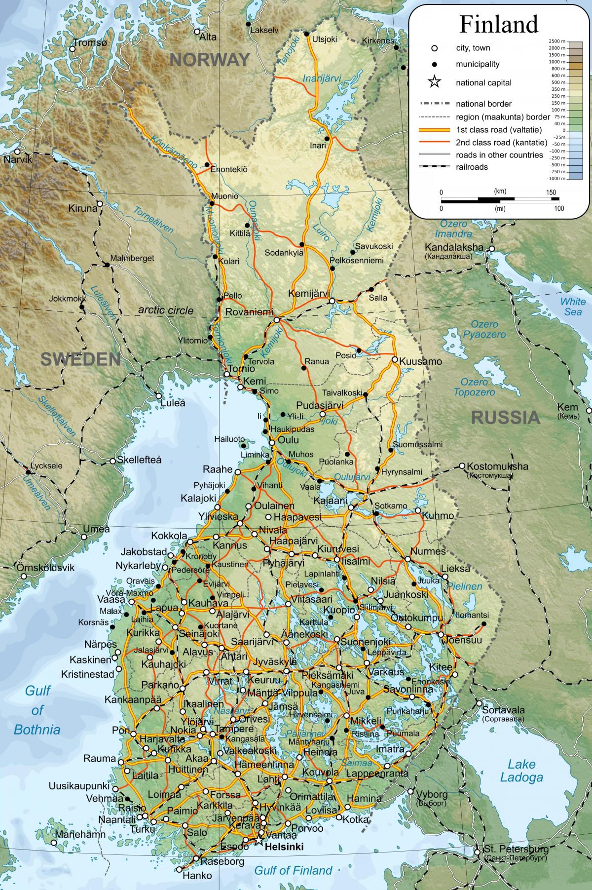 Map of detailed map Finland