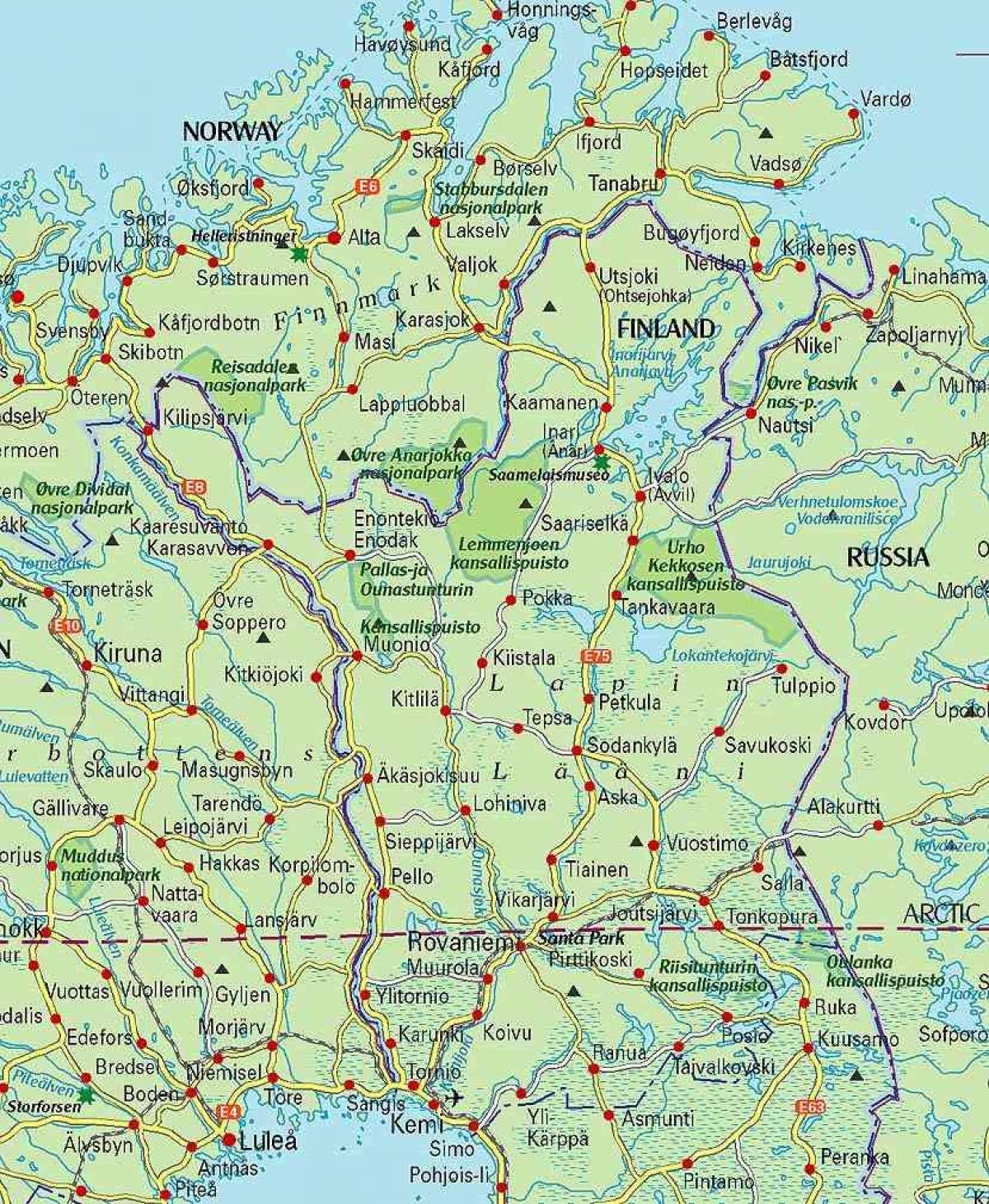 map of Finland and lapland