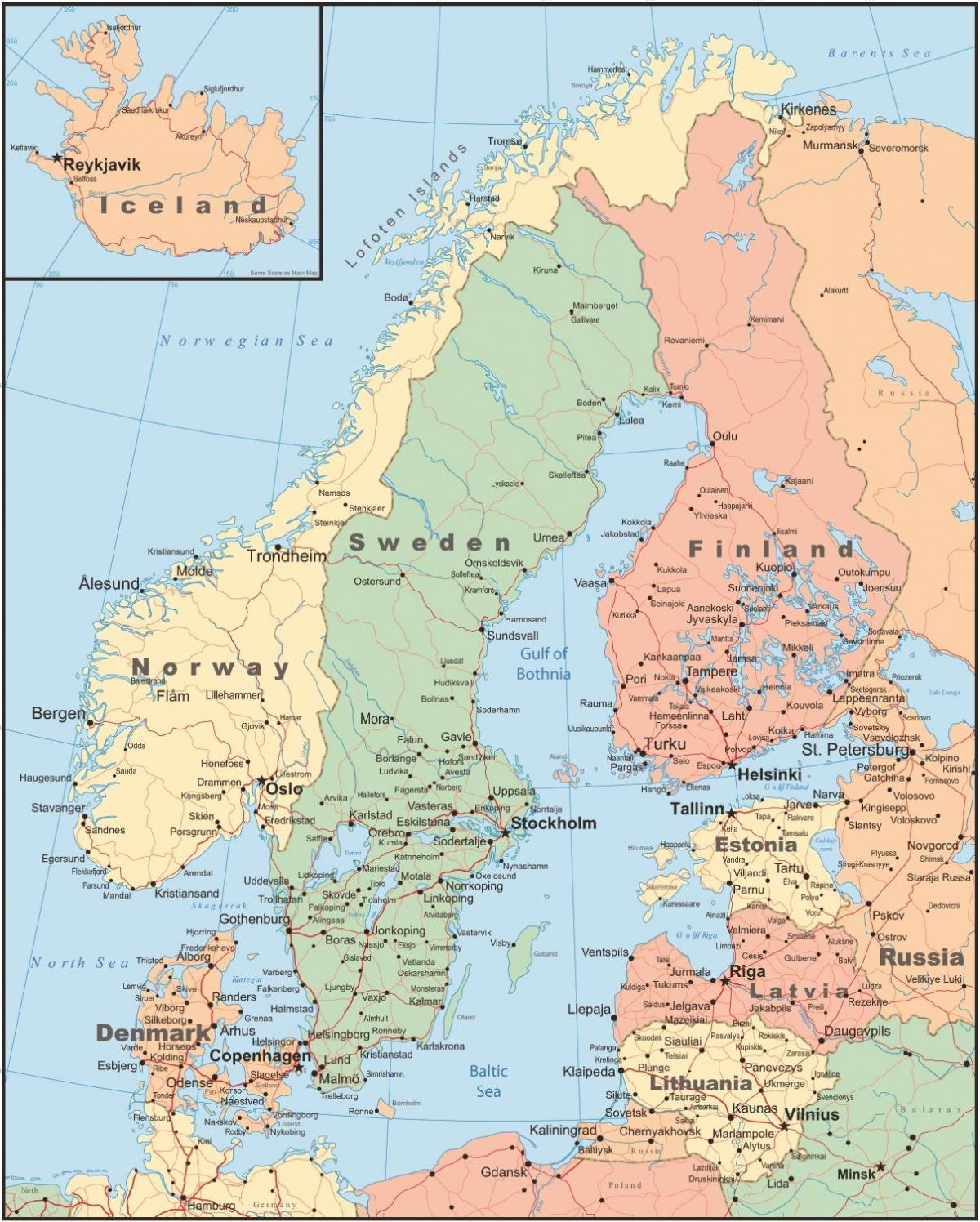 Map of Finland and surrounding countries