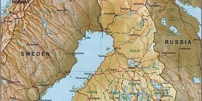 Map of Finland topographic